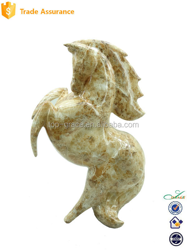 Decorative Water Decal Marble Texture Resin Horse Sculpture