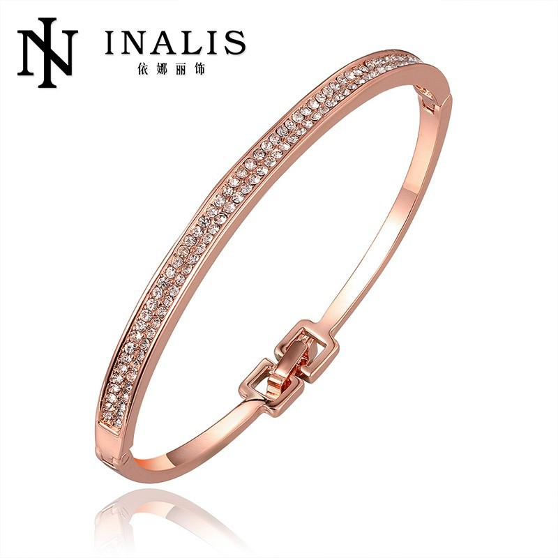 18K rose gold bangles with crystal