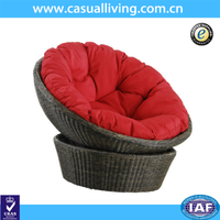 Outdoor garden rattan wicker swivel moon chair lounge chair