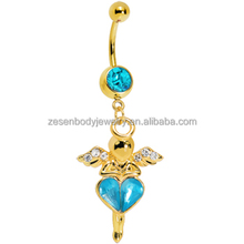 Sexy Cheap Wholesale Crystal Wings Shape Gold Titanium Chain Dangle Belly Ring Navel Piercing Body Jewelry