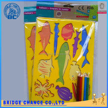 26.5 * 18.5cm yellow fish pattern PP hollow painting template