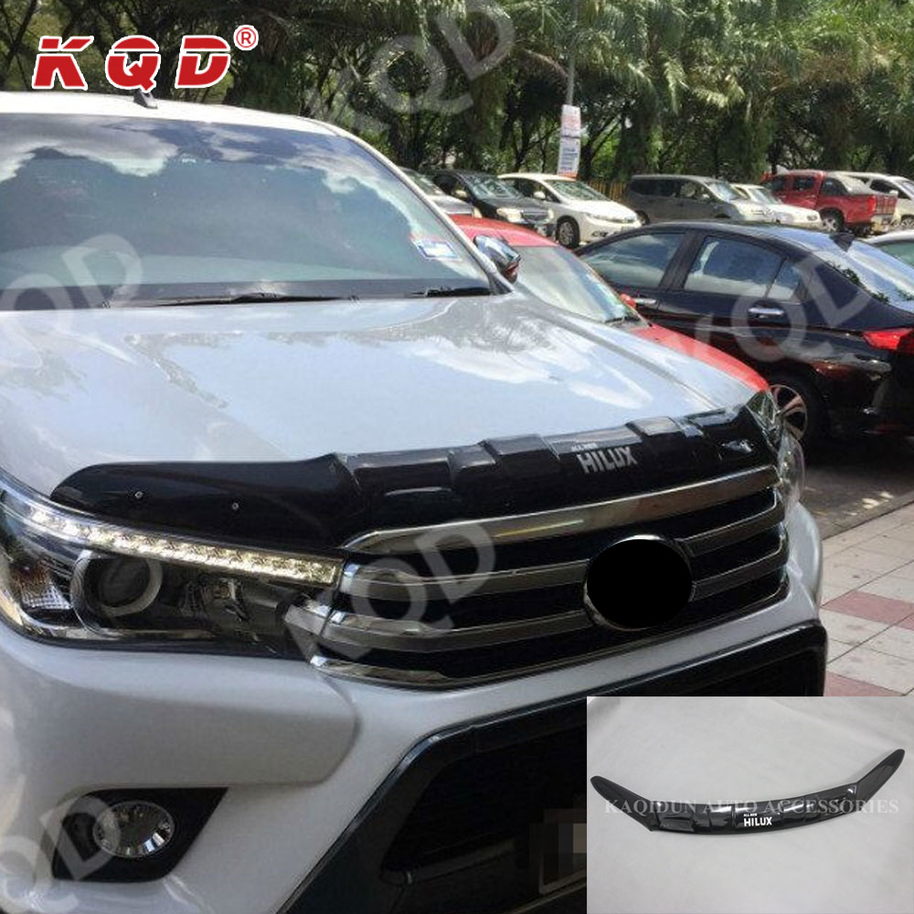 Golden Supplier Factory ABS Plastic Matt black Bonnet guard for hilux revo 2016