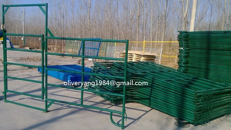green or black powder painted galvanized livestock corral panel and gate for cattle pen or calf run