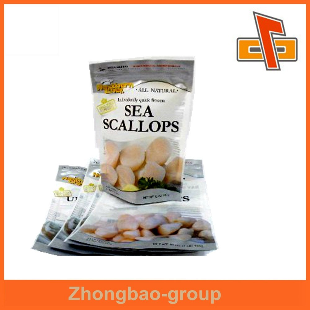 High quality frozen food pouch with zipper/custom printed aluminum foil seafood packaging bag