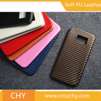 ultra thin tpu+pu leather skin carbon fiber back cover cell phone case for samsung galaxy s6 edge