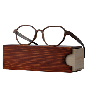 New Models Geometrical Shape Optical Eyewear Acetate Wooden Spectacles