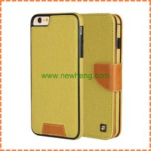 Multifunctional pu leather cover case with detachable back for iphone 6