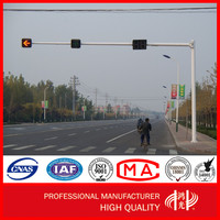 6 Length Steel Poles Galvanized Driveway Traffic Light Poles With 8m Cross Arm