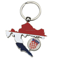 Souvenir Producer Handmade Metal Craft Custom Spinning Emblem Keychains Croatia Map Keyring