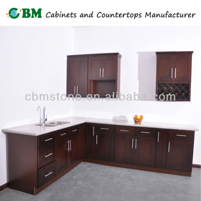 Espresso beech wood kitchen cabinet with shaker door style for Armoire de cuisine shaker