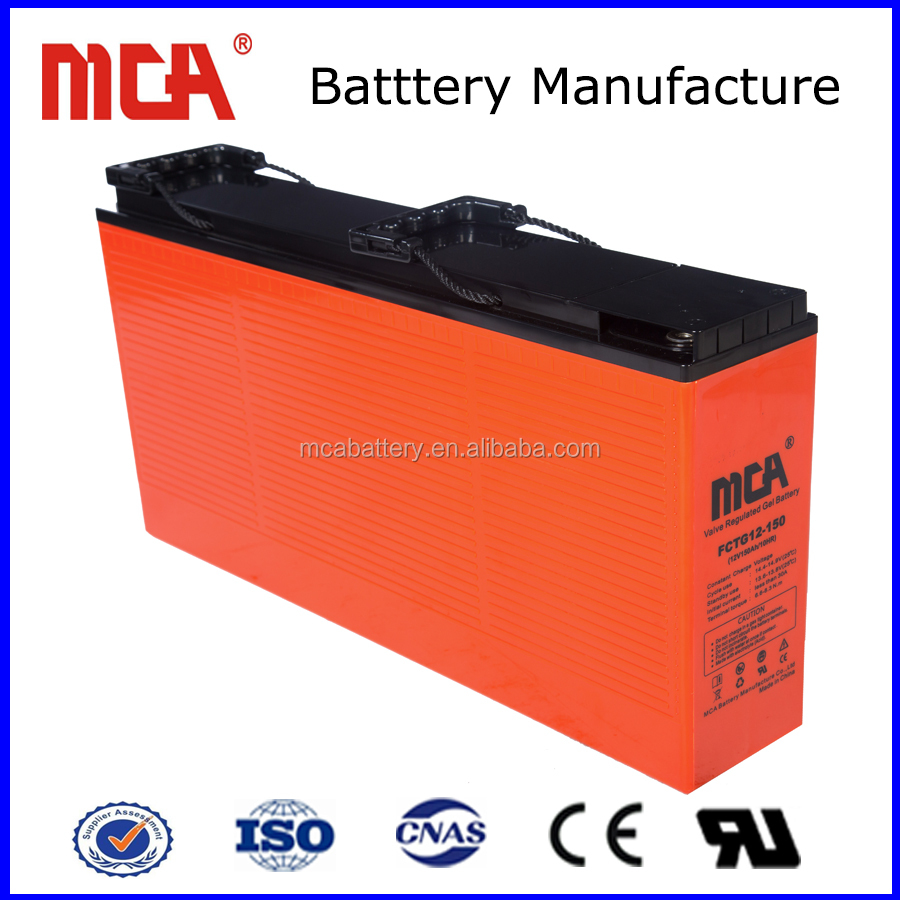 High quality front terminal type 12v 150ah gel battery for ups battery backup