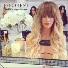 E-forest Brand Brazilian Virgin Human Hair Ombre Body Wave Full Lace Topper Wig