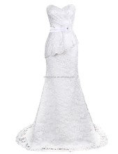 Simple design one piece white embroidery trumpet wedding dress with sweep train