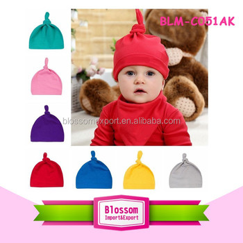 Wholesale Solid Color Plain Cotton Baby Top Knot Hat Kids Boys Girls Infant Winter Warm Knit Baby Knotted Hat Beanie Cap
