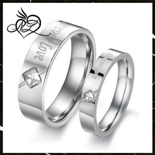 """forever love"" Fashion CZ Crystal Diamant Silver Titanium Stainless Steel Women/Men Wedding Couple Ring"