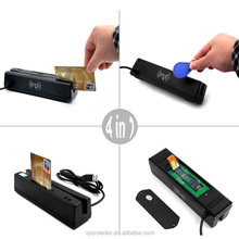 Hot Sale USB 4 in 1 Card Reader & Writer EMV IC chip/ RFID/ PSAM card reader and writer pos magnetic stripe card reader