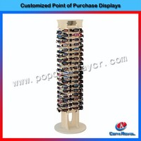 Hot sale floor standing sunglass custom pos wood display stand