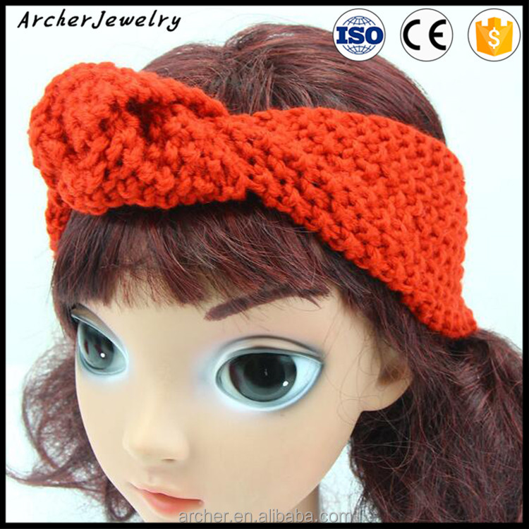 Children Bohemian style Head bow tie Infant Toddler Girl Headband Crochet Hairband Hair Band HA-1248