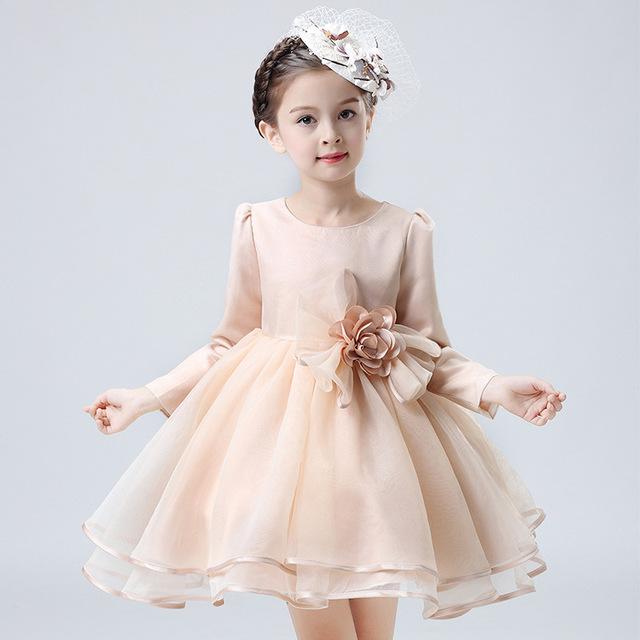 ZH0416D Stylish kidas grenadine bubble dress bowknot long sleeve dress