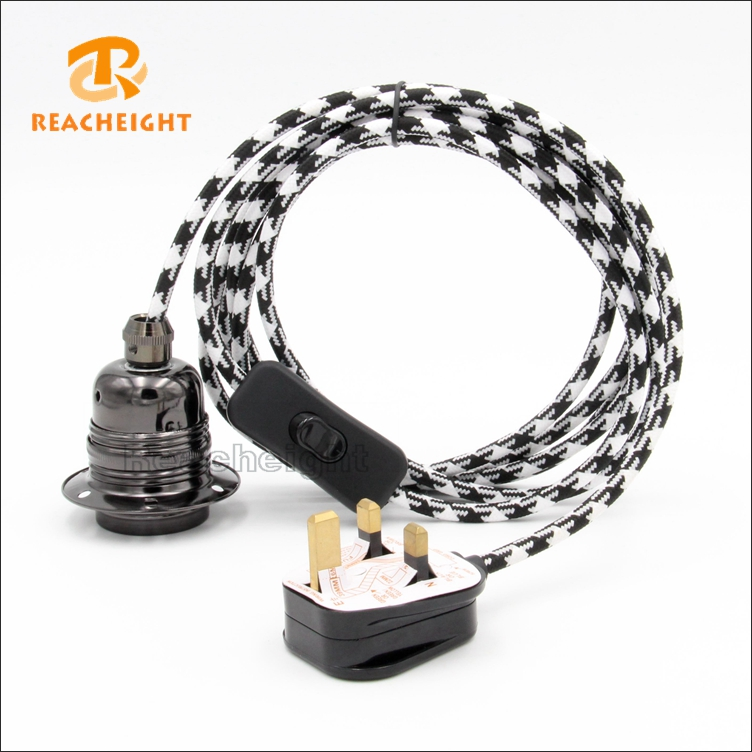 Braided Cord Set UK Plug With Switch And E27 Lamp Holder