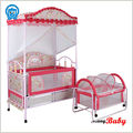 2015 china Deluxe Baby cot bed,newest metal Baby bed,Baby cribs,Kids crib cots with drawer mosquito net
