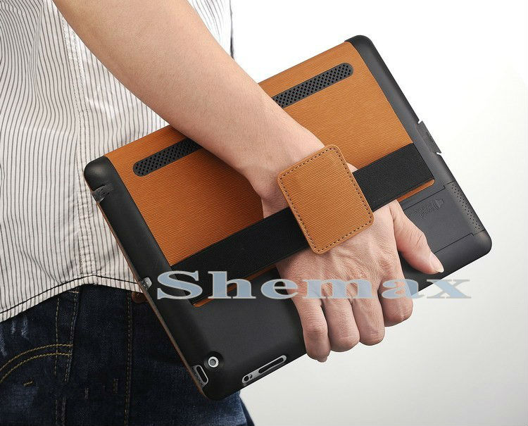 GRIP Series Hand-Held Leather Protector Case with Stand for iPad2/3/4