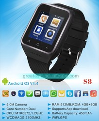 2016 China Android 4.4 OS 3G smart watch phone with competitive price
