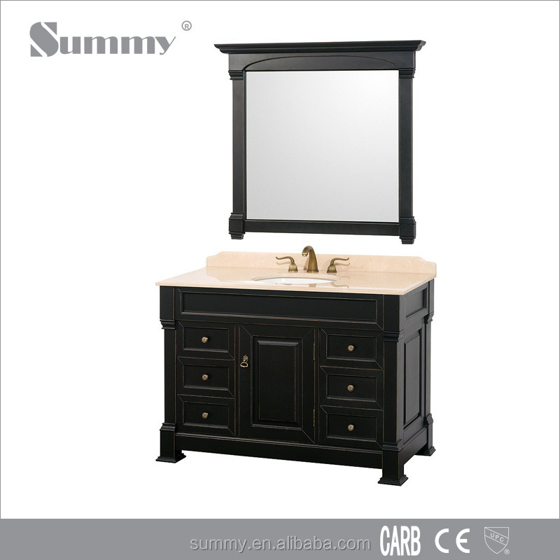 Home furniture portable solid wood bathroom cabinet