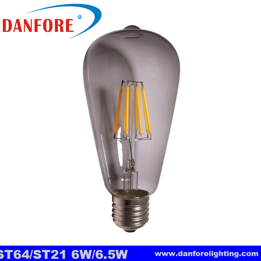 New product Dimmable 6.5W grey glass cover ST64 S21 vintage led bulb