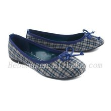 Grid cloth light blue ladies no heel casual shoes
