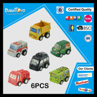 Plastic small kid cartoon police and fl pull back toy car