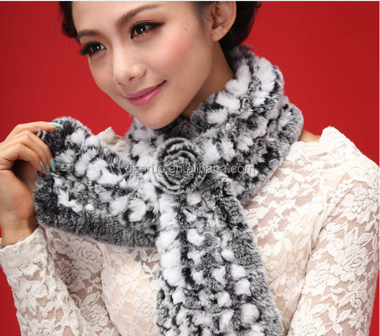 2016 New desin winter fashion artificial rabbit fur scarf/Small blockage Thicken woman animal fur scarf
