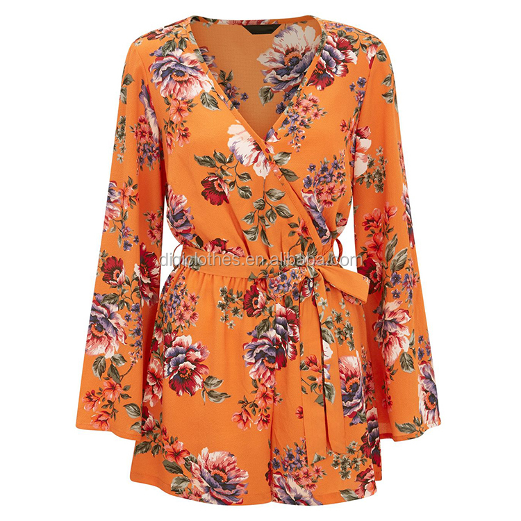 Latest Design Orange Tropical Floral Print Flared Sleeve V Neck Wrap Front Women Playsuit