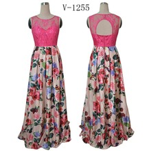 Pink evening gown lace top with round neck and back cut out printed evening dresses