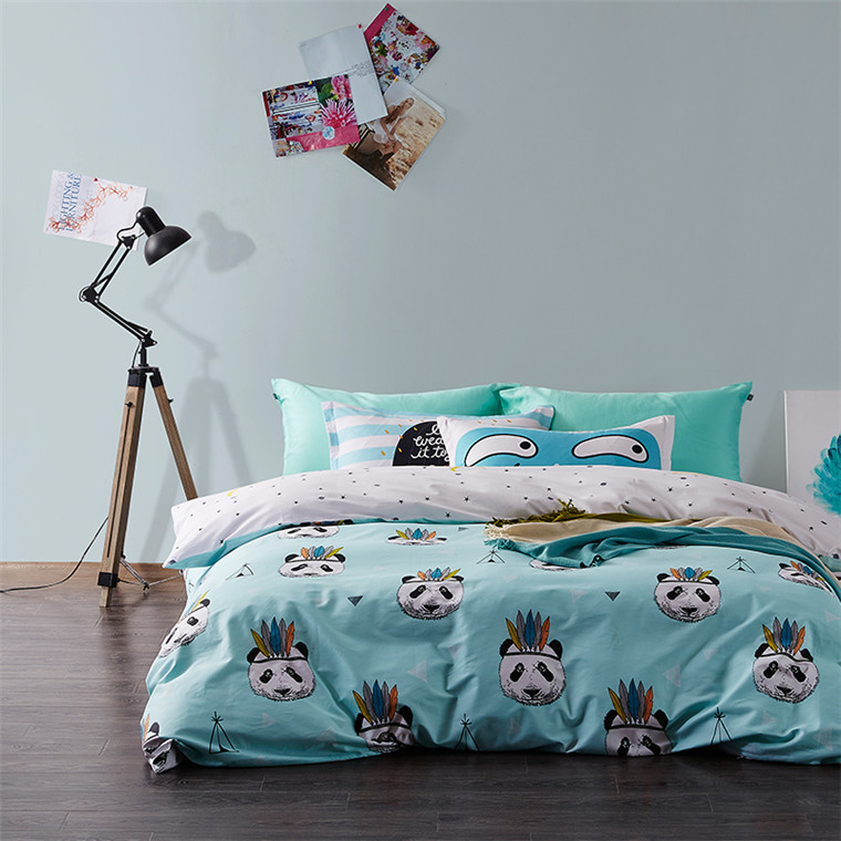 kids cartoon digital printed bed sheet bedding sets panda