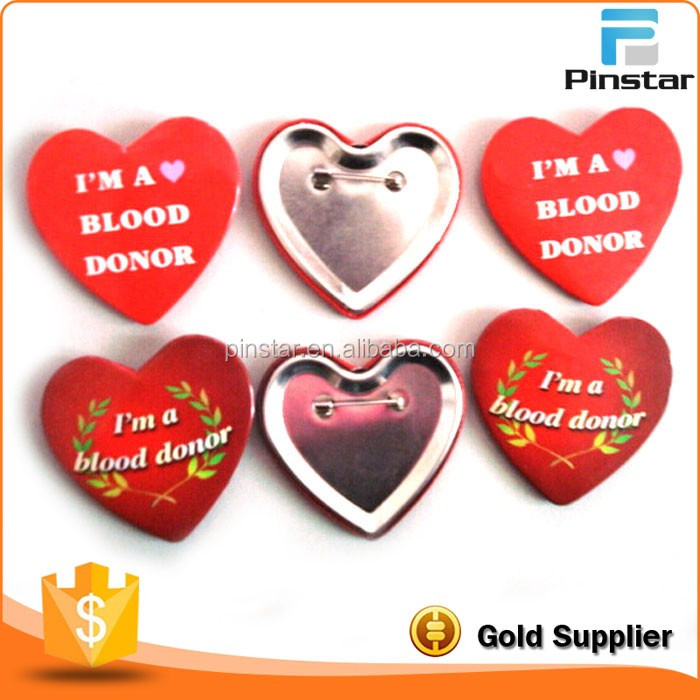 Custom Printing Logo Heart Tin Button Badge