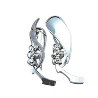 BJ-RM-044 Hot sale teardrop mirror with skull stem chrome motorcycle mirror for cruiser chopper