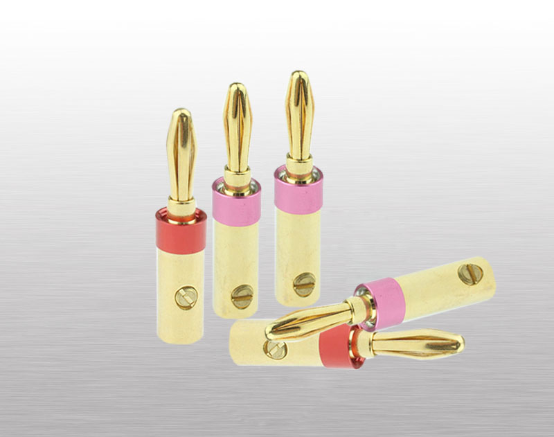 Wholesale Speaker Plug 6 Leaves Banana Plugs Connectors 24k Gold Plated Speaker Banana Plugs