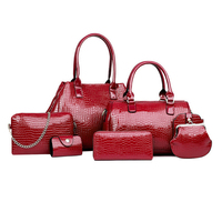 PU faux Leather lady grip handbag, Fashion weekend overnight satchel purse shoulder hand bag clutch wallet set