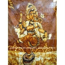 "Indian God Ganesh / Dancing Ganesha / Cotton Fabric Tapestry Batik Painting Wall Hanging 44"" X 32"""