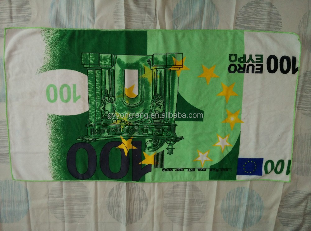 Microfiber warp beach towel with reactive money printing