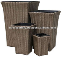 The Great Style Viet Nam's Handicraft by Plastic Rattan Wicker Planter, Wicker Planter Pots