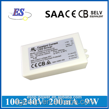 9W 200mA 30-42V Constant Current LED Driver Power Supply with CB CE TUV SAA