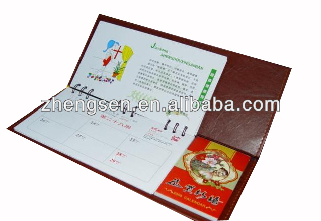 hot sale customized calendar with PU cover