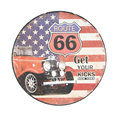Route 66 Round Retro Vintage Tin Sign
