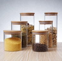 Round Cylinder Heat Resistant Mason apothecary Jar Storage Borosilicate Dry Food Rice Glass Storage Jar With Cork Lid