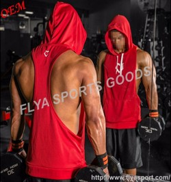 blank custom sleeveless hoodies men bodybuilding activewear muscle tank top
