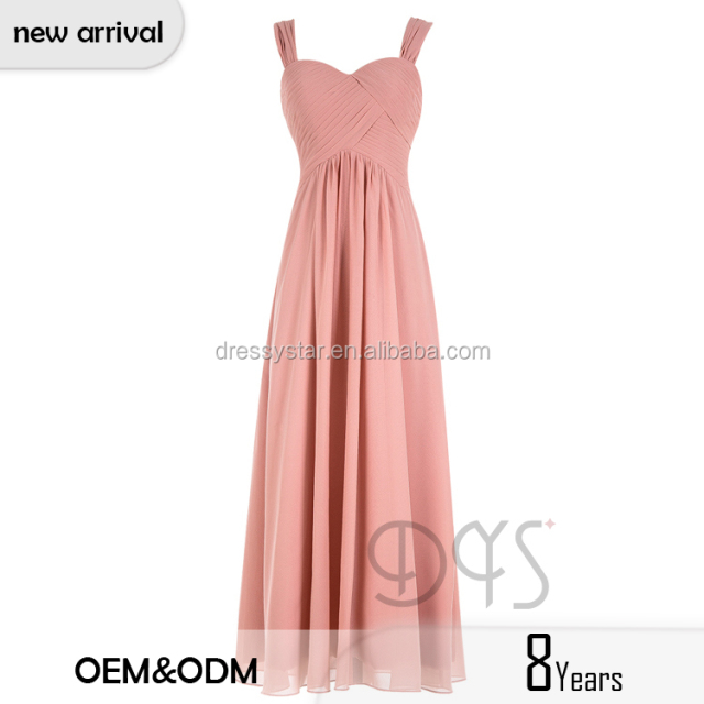 2017 Spring collection long chiffon blush chiffon weddings bridesmaid dress