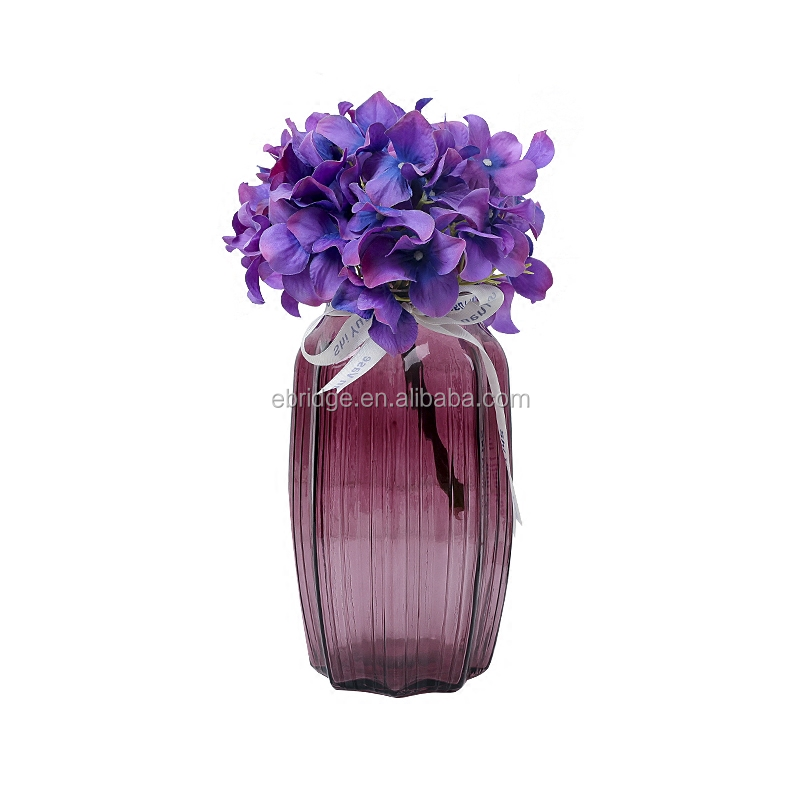 rectangular colored glass decoration vase with inner electroplating
