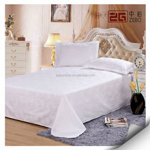 Pure White Sateen Fabric Super Soft Hotel Used Cotton Bed Sheet in Guangzhou